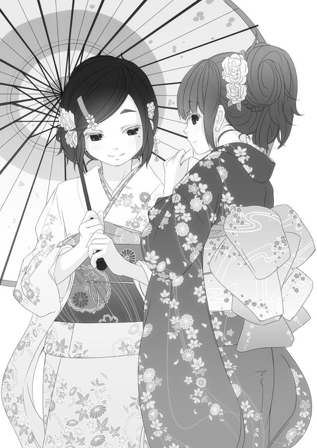 振袖雪子・千代子モノクロ版(薄光スノウフレーク)